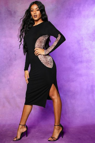 Womens Black Halloween Cobweb Mesh Cut Out Midi Dress