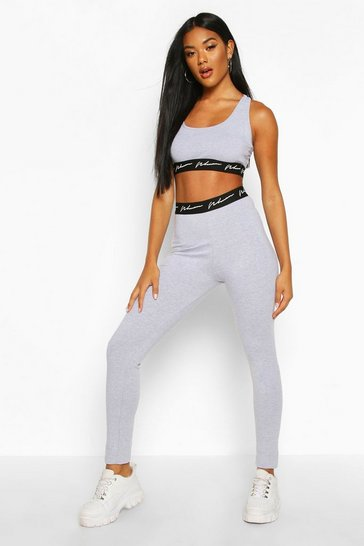 Grey Woman Tape Jersey Sport Set