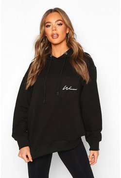 Black Logo Pocket Oversized Hoodie