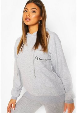 Grey marl Woman Logo Pocket Oversized Hoodie
