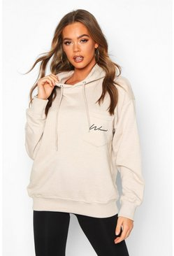 Womens Oatmeal Logo Pocket Oversized Hoodie
