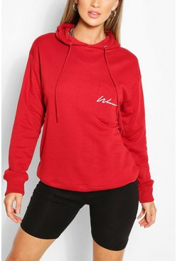 Red Woman Logo Pocket Oversized Hoodie