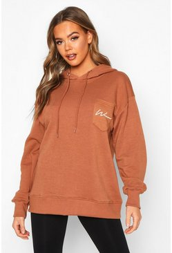 Taupe Woman Logo Pocket Oversized Hoodie