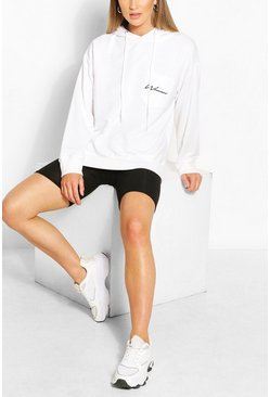 White Woman Logo Pocket Oversized Hoodie