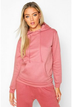 Womens Blush Kangaroo Pocket Hoodie