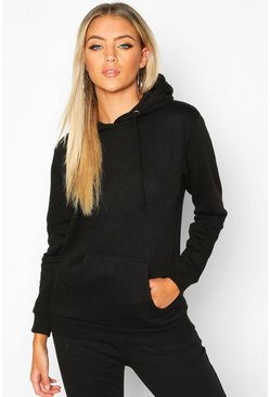Womens Black Kangaroo Pocket Hoodie