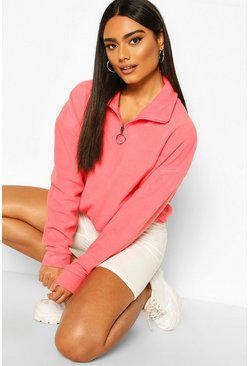 Coral Zip Through High Neck Oversized Hoodie