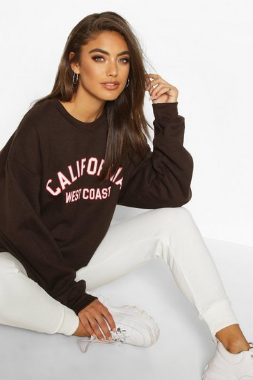Chocolate California Slogan Oversized Sweatshirt