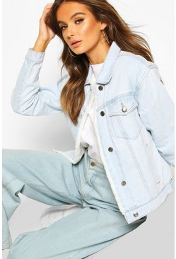Womens Light blue Faux Fur Lined Denim Jacket