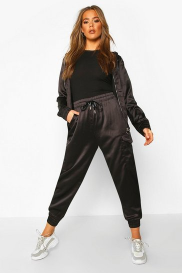 Womens Black Satin Zip Through and Jogger Set