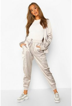 Womens Silver Satin Zip Through and Jogger Set