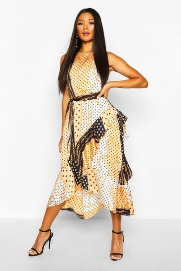 Womens Peach Chain Print Frill Detail Midi Dress