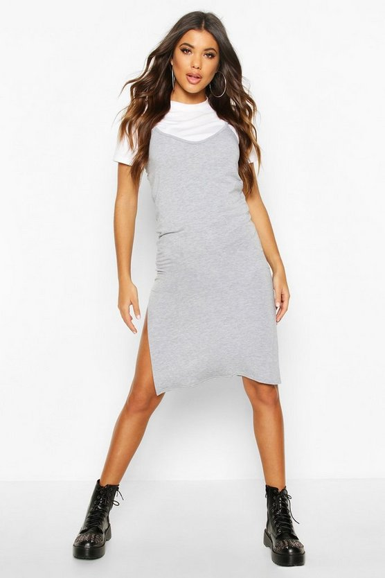 Jersey Slip Midi Dress by Boohoo