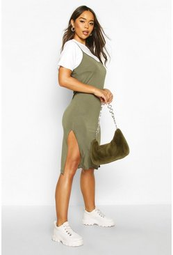 Womens Khaki Jersey Slip Midi Dress
