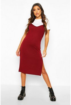 Womens Wine Jersey Slip Midi Dress
