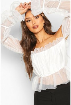 White Mesh Tiered Sleeve Off The Shoulder Top