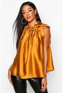 Womens Mustard Satin High Neck Tie Swing Top