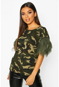 Womens Khaki Printed Organza Sleeve T-Shirt