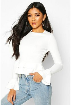 Womens White Ruffle Crepe Long Sleeved Peplum Top