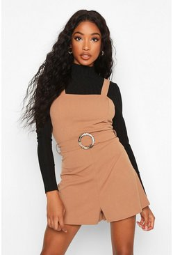 Womens Brown Snake Buckle Pinafore Playsuit