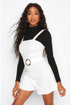 Ivory Snake Buckle Pinafore Romper
