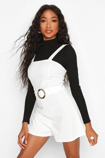 Ivory Snake Buckle Pinafore Playsuit