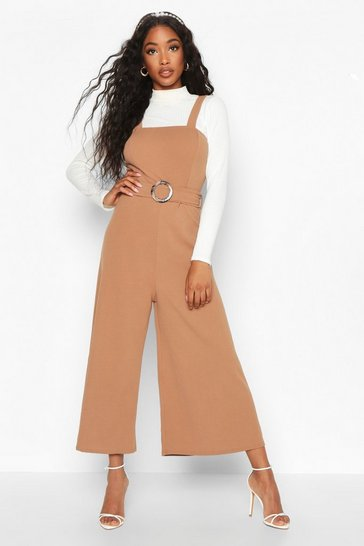 Womens Brown Snake Buckle Pinafore Jumpsuit