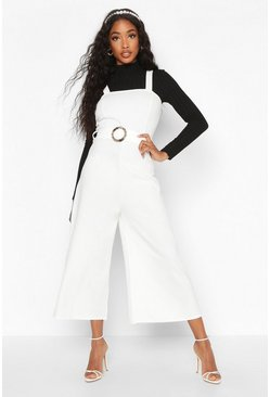 Ivory Snake Buckle Pinafore Jumpsuit