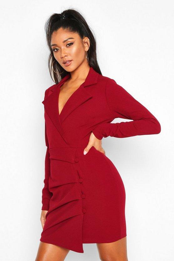 Button Detail Wrap Blazer Dress