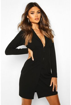 Black Asymmetric Hem Waist Detail Blazer Dress