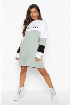 Womens Sage Off Duty Embroidered Colour Block Sweatshirt Dress