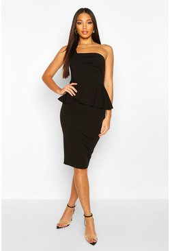 Black One Shoulder Pleated Peplum Bodycon Midi Dress