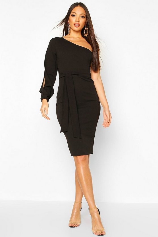 Black Split Sleeve Belted Bodycon Midi Dress