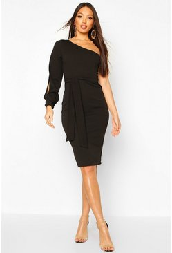 Womens Black Split Sleeve Belted Bodycon Midi Dress