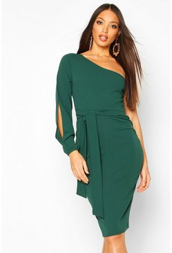 Split Sleeve Belted Bodycon Midi Dress, Bottle green, Donna