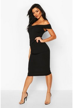 Black Off Shoulder Pleated Peplum Bodycon Midi Dress