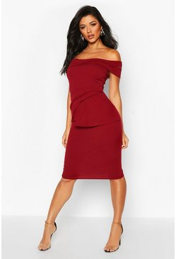 Off Shoulder Pleated Peplum Bodycon Midi Dress, Wine, Donna