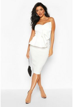 Womens Ivory Bandeau Pleated Bust Bodycon Midi Dress