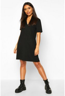 Womens Black Rib Button Detail Short Sleeve Shift Dress