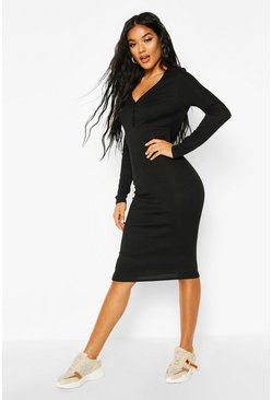 Black Ribbed V Neck Button Detail Midi Dress