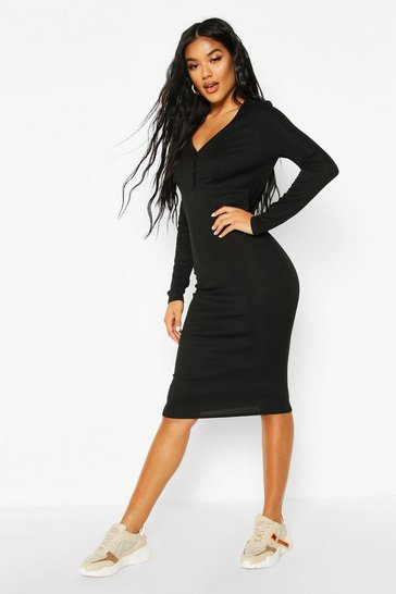 Womens Black Ribbed V Neck Button Detail Midi Dress