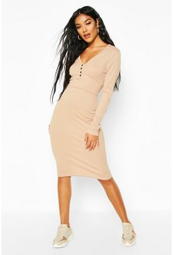 Stone Ribbed V Neck Button Detail Midi Dress