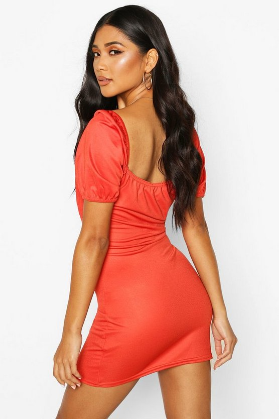 Lace Up Peasant Puff Sleeve Bodycon Dress