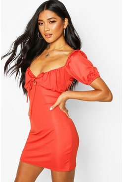 Rust Lace Up Peasant Puff Sleeve Bodycon Dress