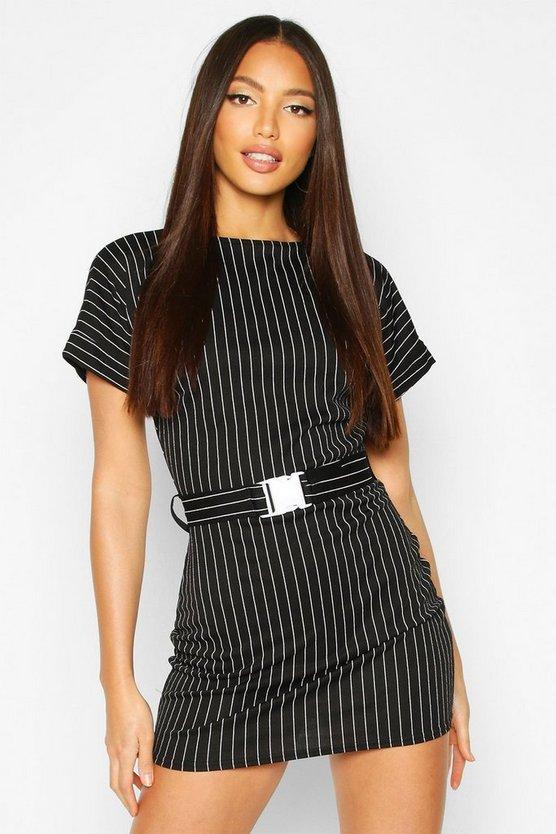 Pinstripe Buckle Detail T-Shirt Dress