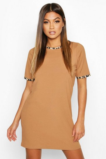 Womens Camel Rib Leopard T-Shirt Dress