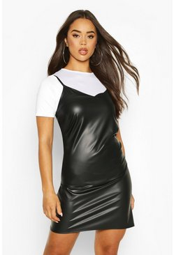 Black Faux Leather Layered T-Shirt Slip Dress