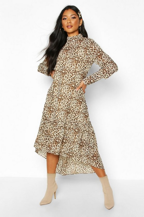 Womens Brown Woven Leopard High Neck Midaxi Dress