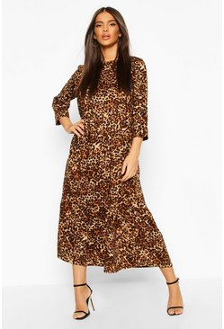 Womens Brown Woven Leopard Tierred Midaxi Dress