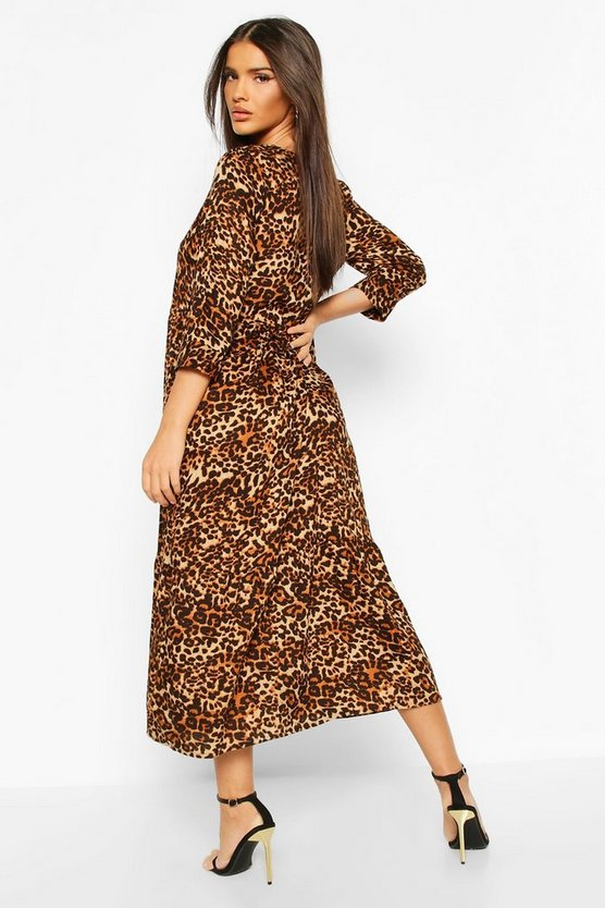 Woven Leopard Tierred Midaxi Dress